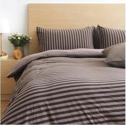 天竺棉四件套 純棉簡約條紋床單被套針織棉全棉床笠床上用品(深咖中條)