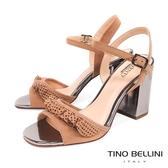 Tino Bellini 巴西進口百摺牛皮緞帶高跟涼鞋 _ 杏 B83224 歐洲進口款