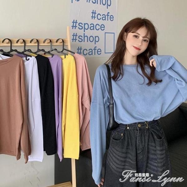 新款2020年秋季韓版網紅同款長袖寬鬆T恤女ins潮百搭純色顯瘦上衣 范思蓮恩