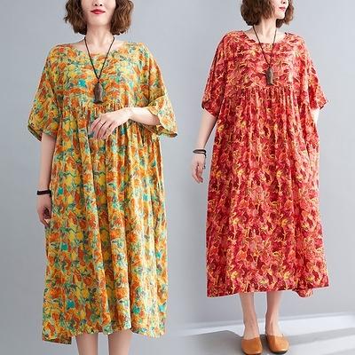 M-2XL胖妹妹大碼洋裝連身裙~棉麻洋裝連身裙~圓領短袖花色胖mm連身裙女 棉6796.MC005衣時尚