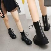 大尺碼女鞋34-43 2020新款時尚百搭出行必備款繫帶馬丁靴 低跟短靴~2色
