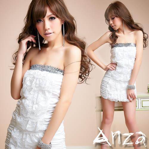【AnZa】平口亮片蕾絲連身裙/洋裝