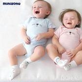 嬰兒包屁衣 新款夏季男女寶寶衣服短袖三角包屁衣嬰兒連體衣aj1352『美鞋公社』