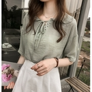 (免運)DE shop - 白色雪紡衫女短袖寬鬆設計感的上衣 T-794