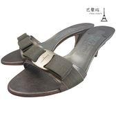 【巴黎站二手名牌專賣店】*現貨*Salvatore Ferragamo 真品*金屬棕綠色涼鞋(5.5號)