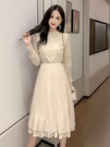 長袖連身裙秋裝新款很仙的長袖蕾絲連身裙女網紅甜美裙法式過膝長裙