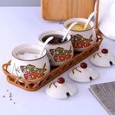 調味罐套裝陶瓷調味盒調料罐日式廚房調味品罐家用裝鹽罐子辣椒罐  薔薇時尚