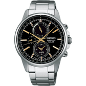 SEIKO 精工 SPIRIT 太陽能動力儲存計時碼錶-黑x金時標/41mm V198-0AC0K(SBPJ007J)