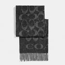 【COACH】經典COACH LOGO 安哥拉羊毛混喀什米爾雙色流蘇圍巾(黑)
