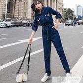 秋裝2021年新款連身衣女裝時髦套裝牛仔工裝休閒連衣褲學生連身褲 夏季新品