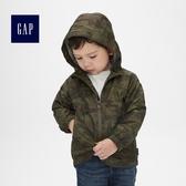 Gap男嬰幼童 舒適條紋印花拉鏈長袖連帽休閒外套 214909-綠色迷彩