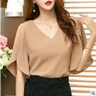 VK精品服飾 韓國風名媛雪紡荷葉邊袖氣質V領短袖上衣
