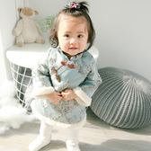女童夾棉長袖連衣裙女寶寶秋冬唐裝旗袍裙嬰兒裙子0-1-2歲369個月全館免運 萌萌
