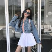 春秋裝2018新款韓版港味復古長袖嘻哈風少女牛仔外套社會短款夾克