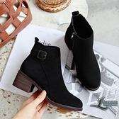 女士短靴短筒粗跟馬丁靴加絨女靴子【邻家小鎮】