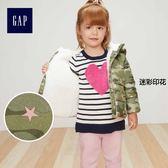 Gap女嬰幼童 保暖仿羊羔絨鋪棉夾克 307490-迷彩印花