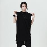 無袖T恤-中長款純色簡約寬鬆小立領女上衣73sl32[巴黎精品]