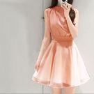 高雅立領無袖蕾絲腰洋裝 [粉橘色] MDD160009