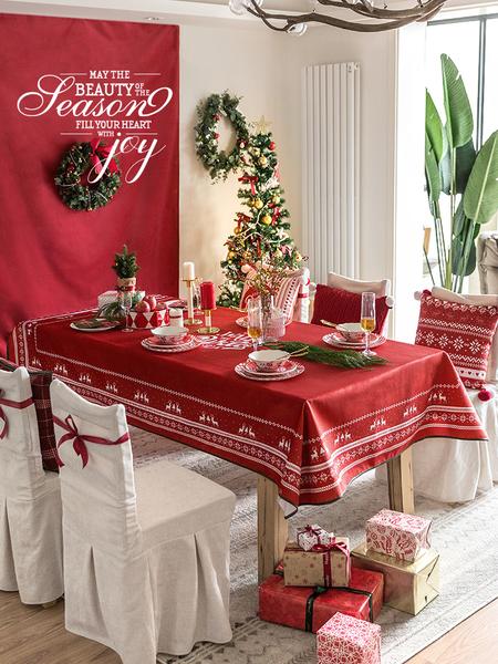 北歐聖誕紅色餐桌布 (120*170cm) 長方形茶几布 桌巾