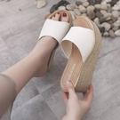 增高拖鞋 厚底楔形拖鞋女外穿夏新款夏季鬆糕百搭厚底增高夏天涼拖鞋子-Ballet朵朵