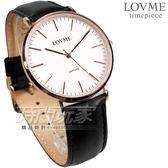 LOVME 簡約風格品味 藍寶石抗磨水晶玻璃 黑色真皮錶帶 男錶 VL0012M-43-241