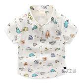 (萬聖節鉅惠)男童短袖襯衫童裝夏季2018新品寶寶正韓棉麻上衣小童百搭短袖兒童襯衣