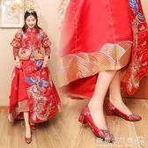 婚鞋  結婚鞋女紅色中式秀禾鞋民族風粗跟新娘鞋敬酒鞋淺口單鞋 『歐韓流行館』
