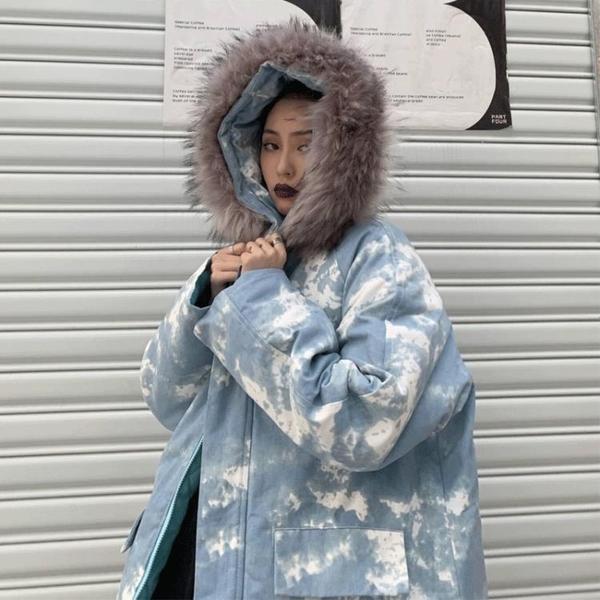 長款外套女 棉衣女韓版寬鬆原宿風冬季加厚中長款迷彩連帽棉服外套潮【快速出貨八五鉅惠】