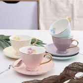 咖啡杯創意簡約北歐金邊骨瓷100毫升咖啡杯套裝花茶杯餐廳茶杯辦公室杯