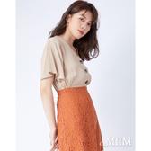 daMIIM純色V領排釦荷葉袖上衣-二色-奶茶