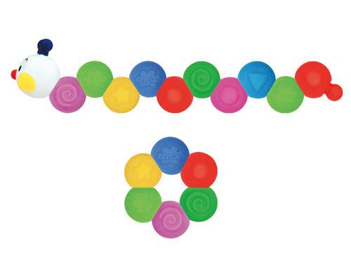 【奇買親子購物網】K's Kids Chain-an -inchworm 彩色安全積木:可愛的毛毛蟲