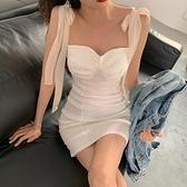 性感露肩飄帶抹胸打底洋裝女夏季洋氣收腰修身顯瘦氣質包臀裙子