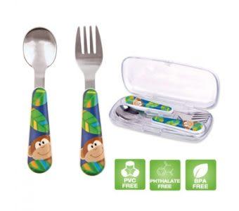 孕媽咪俏貝比 ~~美國Stephen Joseph 童趣不鏽鋼叉匙組- 叢林動物園