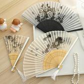 真絲水墨折扇女式中國風扇子女古風禮品折疊扇便攜隨身夏季舞蹈扇【Pink Q】