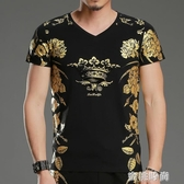 夏季t恤男印花短袖新款精神小伙短袖T恤衫半截袖修身上衣男裝 『蜜桃時尚』