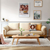 林氏木業北歐雙色三人布沙發 S023-米黃色