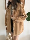 單排扣翻領開衫外套秋冬女新款百搭寬鬆長袖休閒夾克上衣學生