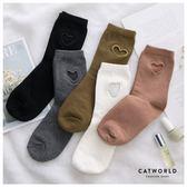 Catworld 鏤空愛心刺繡棉質長襪【18900457】‧F