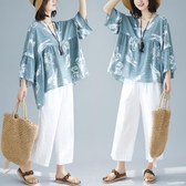棉麻短袖 胖mm娃娃衫女新款夏裝200斤遮肚子上衣寬鬆V領t恤潮 - 古梵希