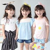 童裝 上衣 蕾絲荷葉袖/立體大花朵/線繡花草瓶短袖上衣(共3色)
