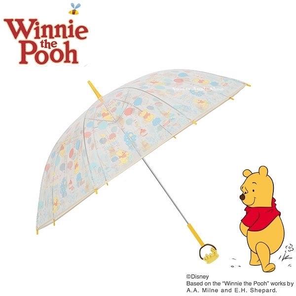 日本限定 迪士尼 小熊維尼 氣球滿版 蜂蜜糖罐柄 透明 直立式 雨傘