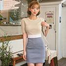 Qmigirl 韓版撞色針織連身裙 短袖圓領包臀短版洋裝【T693】