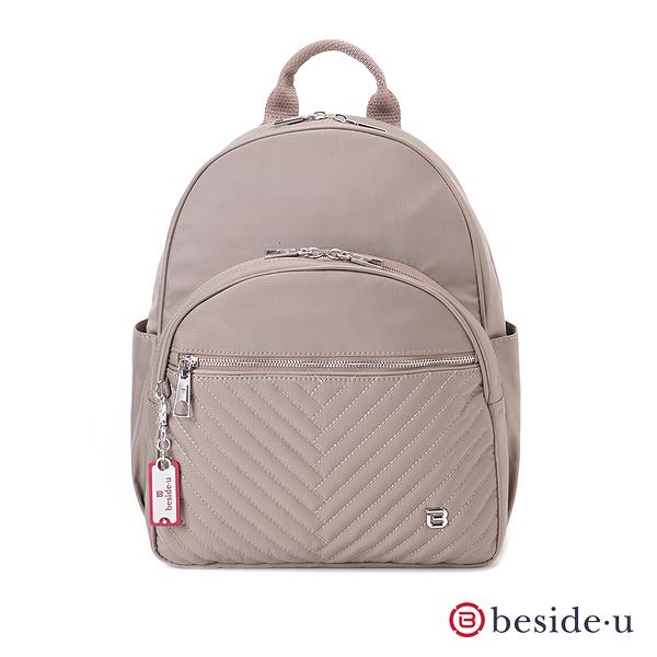 BESIDE-U Nutopia Oasis氣質菱格多隔層後背包-奶茶色
