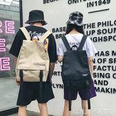 潮牌原創休閒雙肩包男大容量帆布高中學生書包女韓版男士旅行背包 LOLITA