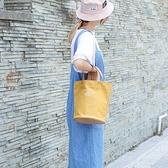 帆布手提包-日系簡約字母水桶包女側背包4色73xb37[巴黎精品]