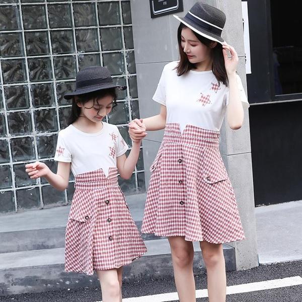 親子裝夏裝新款格子裙女童洋裝韓版家庭裝母女裝潮 糖糖女屋