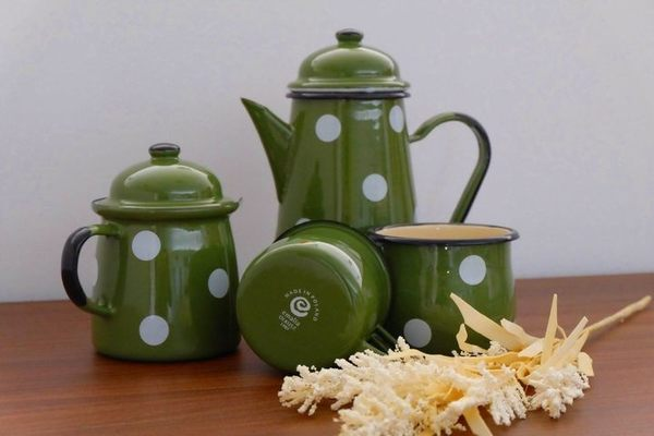 Emalia Olkusz 波蘭 咖啡壺 琺瑯 1L 水玉綠