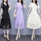 洋裝 氣質流行大擺蕾絲v領a字連身裙 超值價