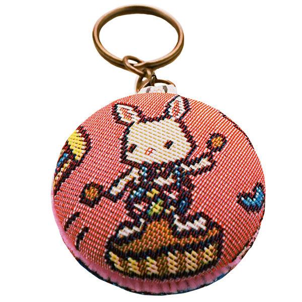 緹花織畫馬卡龍鑰匙圈 開心迷你馬戲團 粉紅