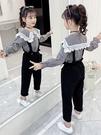 女童秋裝套裝2021新款大兒童洋氣小女孩春秋季網紅背帶褲兩件套潮 幸福第一站